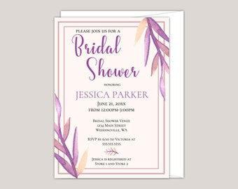 Colorful Watercolor Purple Leaves Bridal Shower Invitation