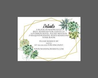 Simple Succulent Wedding Enclosure Card
