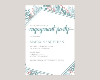 Apatite - Winter Garden Engagement Party Invitation, Custom Made for You, Printed Invitation, Perfect for Winter Engagement Parties