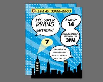 Blue Comic Book Superheros Birthday Party Invitation