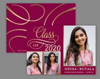 Glamour Grad Class of 2020, Photo Graduation Announcement