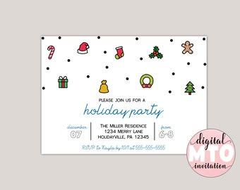Festive Icons Holiday Party Invitation