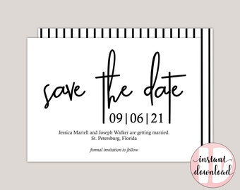 BEATRIX - Modern Minimalist Save The Date Card, Black and White Save The Date Announcement, Printable PDF, DIY Template