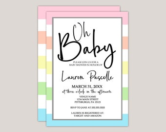 Pastel, Oh Baby!, Baby Shower Invitation