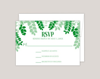 GREENSCAPE - Luscious Green Leaves Wedding RSVP Card, Printed Wedding Response Card, leaf canopy, summer wedding, free envelopes included