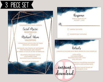Watercolor Geometric Splash Wedding Invitaiton Template Kit