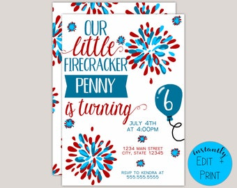 Little Firecracker Kids Birthday Invitation Template