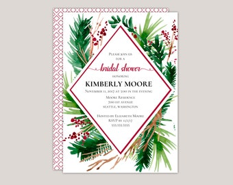 EVERGREEN - Winter Ferns and Red Berries Geometric Bridal Shower Invitation
