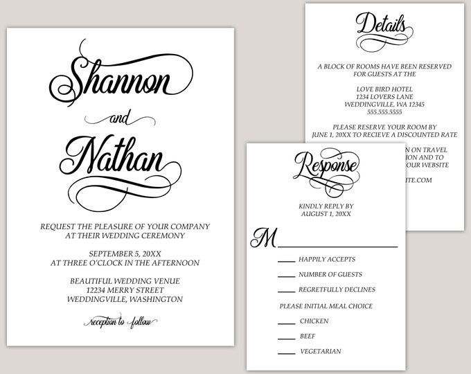 Featured listing image: Elsie - Simple Elegance Modern Wedding Invitation Suite, Build Your Suite, Custom Made for You Printed Wedding Invitations