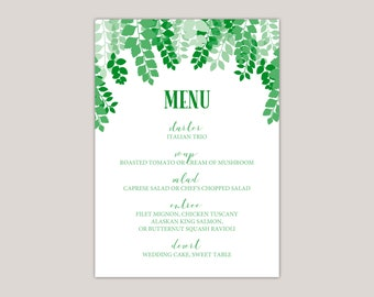 GREENSCAPE- Luscious Green Leaves Wedding Menu Cards, Printed Wedding Set, leaf canopy, summer wedding, Green Leaves, Modern Calligraphy