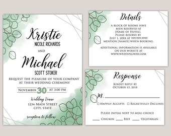 Sienna - Watercolor Sand Dollar Eucalyptus Wedding Invitation Suite, Printed Wedding Invitations, Custom Made for You