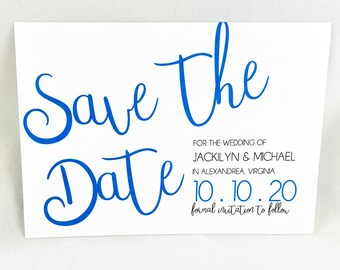JACKILYN - PRINTED Modern Save The Date Card, Save The Date Announcement, Elegant Wedding Announcement, Stunning Calligraphy,  Custom Made