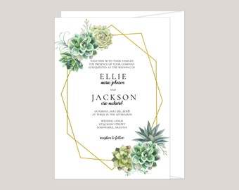 Simple Succulent Wedding Invitation
