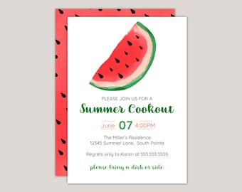 Watercolor Watermelon Summer Cookout Party Invitation