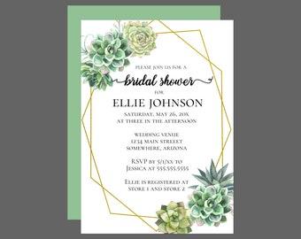Stylish Succulent Bridal Shower Invitation