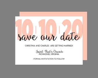 Contemporary Large Number Save The Date Announcement Card