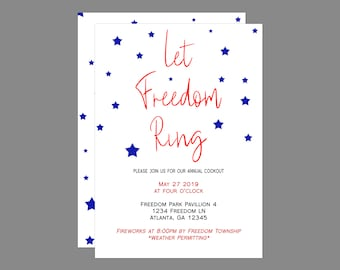 Let Freedom Ring Memorial Day or Fourth of July  Party Invitation