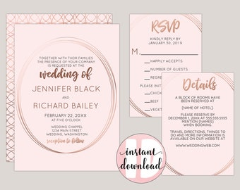 Rose Gold Modern Geometric Wedding Invitation Templates in PDF Format