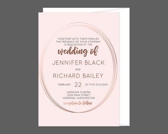 Rose Gold Geometric Oval  Wedding Invitation