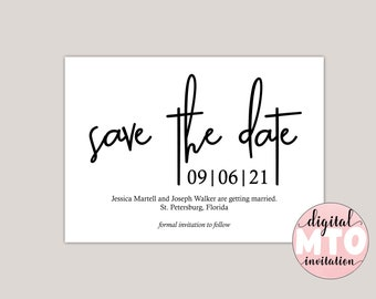 BEATRIX - Modern Minimalist Save The Date Card, Black and White Save The Date Announcement, Photo Save The Date, Printable PDF, Digital JPEG