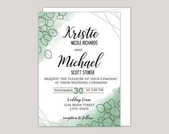 Watercolor Sand Dollar Eucalyptus Wedding Invitation