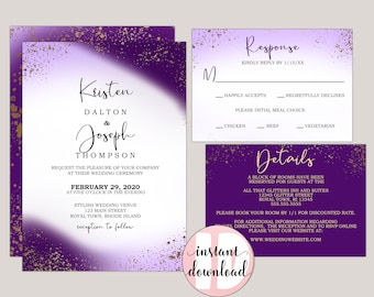 Royal Purple Passion Wedding Invitation Suite, Printable PDF Template