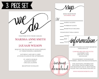 We Do Modern Calligraphy Wedding Invitation Template Suite