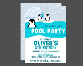 Winter Penguins Pool Party Birthday Invitations