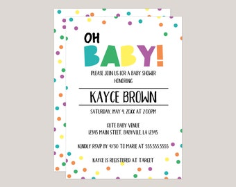 Pastel, Oh Baby! Confetti Baby Shower Invitation