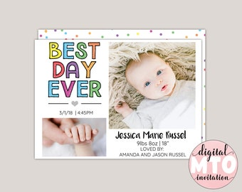 BEST DAY EVER - Fun Colorful Birth Announcement, Modern Birth Announcement, Photo Birth Announcement, Girl or Boy Birth Announcement