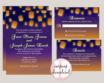 GLOWING LANTERNS - Romantic Outdoor Wedding Invitations, Fairytale Weddings, Sunset Weddings, Whimsical, Traditional, Princess Wedding Theme
