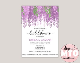 Melisandre - Wisteria Flowers Bridal Shower Invitation, Made to Order Digital Invitation. JPEG or PDF, Printable Invitation, Garden Shower