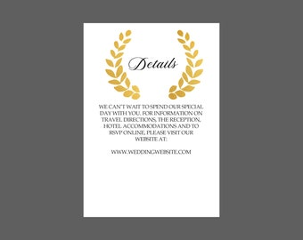 Romantic Golden Wreath Enclosure Card