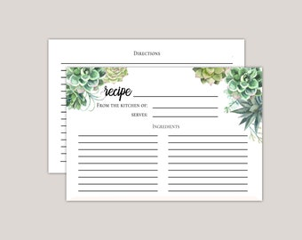 Stylish Succulent Recipe Card