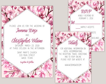 Akina - Cherry Blossom Wedding Invitation Suite, Japanese Cherry Blossoms, Wedding Invitation Set, Custom Printed Wedding Invitations
