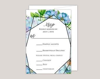 Blue Hydrangea Garden RSVP Card