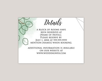 Watercolor Sand Dollar Eucalyptus Wedding Enclosure Card