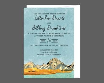 Watercolor Fall Mountain Wedding Invitation