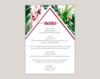 EVERGREEN - Wedding Dinner Menu Cards, Winter Wedding, Evergreen Ferns and Winter Berries, Printed Menu Cards, 5x7""