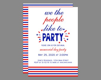 We the People Like To Party Memorial Day Party Invitation