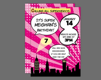 Pink Comic Book Superheros Birthday Party Invitation