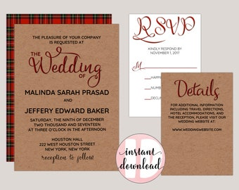 Rustic Plaid Wedding Invitation Suite