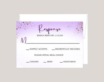 Lavender Purple Passion Modern Wedding RSVP Card