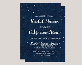 Starryscape - Printed Bridal Shower Invitation, Starry Night, Stars at Night, Under The Stars Wedding Themes