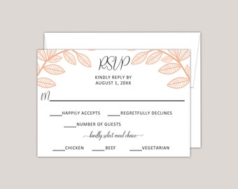 AUTUMN- Whimsical Leaves RSVP Card with Meal Choice, Fall Wedding, Artisan, Handcrafted Wedding Response Card, Burnt and Pastel Orange