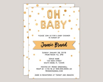Foil Balloon Oh Baby Baby Shower Invitation