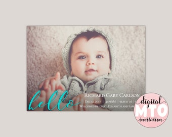 HELLO - Modern Birth Announcement, Photo Birth Announcement, Girl or Boy Printable Birth Announcement, Made for You, Modern Calligraphy