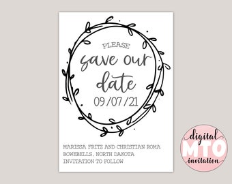 WILLOW - Country Wreath Save The Date, Printable PDF or Digital JPEG, Wedding Announcement, Farmhouse Theme, Whimsical Save the Date
