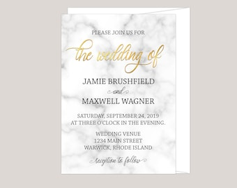 Marbleara - Printed Faux-Gold and Marble Wedding Invitation Card, Modern Calligraphy, Free Envelopes Included