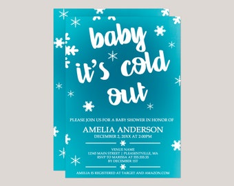 Blue Ombre Baby It's Cold Out Baby Shower Invitation